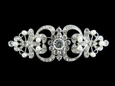 Vintage Inspired Womens Pearl Crystal Flower Brooch Wedding Party