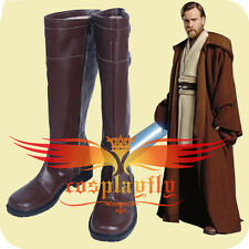 New Star Wars Cosplay Jedi Knight Obi-Wan Kenobi Shoes Brown Boot Custom