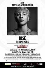 "TAEYANG ""WORLD TOUR RISE IN HONG KONG"" 2015 CONCERT POSTER-K-Pop Music, Big Bang"