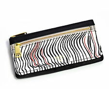 Fossil Brand PRESTON Leather Wallet Flap Clutch Zebra Print