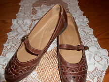 Naturalizer Brown Leather Mary Jane Flats Loafers Shoes Size 7 1/2 narrow