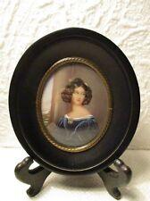"""Ancienne peinture miniature portrait de femme """" Jeune femme à la robe bleue """""""