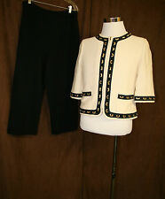 St John Couture 2 Piece Outfit Jacket Bottoms Size 8 10 Off White Gold Luxury