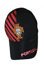 PORTUGAL BLACK WITH RED STRIPES FPF LOGO FIFA WORLD CUP FLEXFIT HAT CAP .. NEW