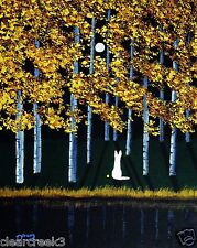 White German Shepherd Dog moon Forest Art PRINT Todd Young painting AUTUMN MOON