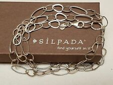 SILPADA N2109 IN THE LOOP Sterling Silver Necklace .925 Textured Chain Link 31""