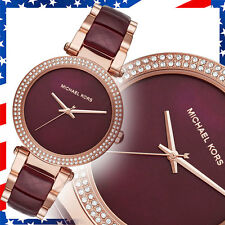 New Authentic Michael Kors Womens Parker Two-Tone Acetate Rose Gold Watch MK6412
