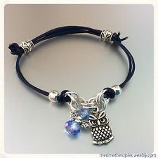 Navy Blue Leather Third Eye Chakra Bracelet - Silver Owl Charm & Crystal Angel
