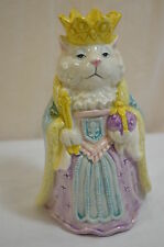 Fitz and Floyd Queen Marie de Meow 1990 Bud Vase F&F Cat with Crown 900-3
