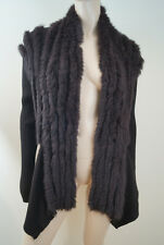 RINO & PELLE Chocolate Brown Rabbit Fur Rib Knit Cardigan Jacket Sz:XL BNWT