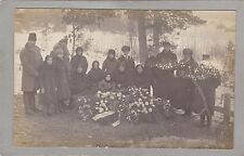 Vintage RPPC, Photo - Mourners At Funeral - Grave - Floral Tributes - European