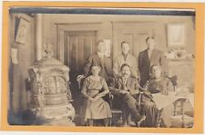 Real Photo Postcard RPPC - People in Parlor with Monitor Stove