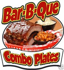 "BAR-B-QUE Combo Plates Decal 8"" BBQ Barbeque Restaurant Concession Food Truck"