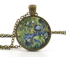 van Gogh Bronze Pendant - Necklace - Vintage Irises Painting Art Jewellery Gift