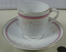 Antique Demitasse Cup & Saucer Iron Stone Pink Lusterware