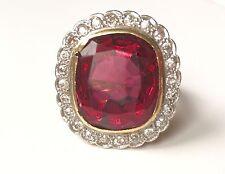 Enorme Art Decó 16 Quilates Rosa Turmalina & Diamante Anillo De Platino. de 1 quilates y 12 gramos