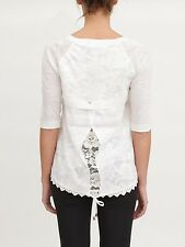 NS TWIN SET SIMONA BARBIERI LINEN COTTON & LACE CARDIGAN TOP T3S5BN ,M,L £149