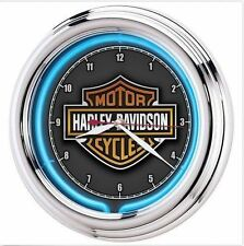 Harley Davidson Motorcycle Wall Electric Clocks Neon For Garage Bar Man Cave
