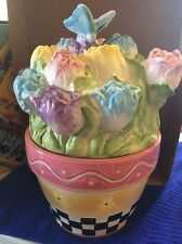Colorful Ceramic Flower Pot Cookie Jar Base With Butterfly & Flower Bouquet Lid