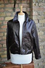 Bay UK 12 Vintage look rockabilly 50's brown real leather box jacket zip pockets