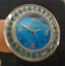 Blue Elegant round Dial Silver Steel Adjustable Finger Ring Watch Quartz Lady