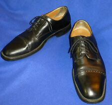 12 D NICE SANTONI BLACK  PERFED CAP TOE DERBY OXFORD MENS SHOES