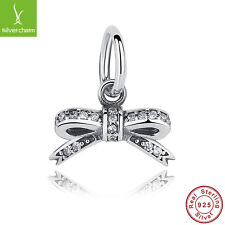 Authentic 925 Sterling Sparkling Bow Dangle Charms Fit Christmas Wholesale Charm