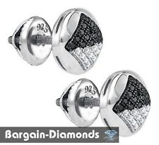 black diamond .15 carat half-ball unisex stud earrings 925 screwback men ladies