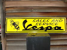 VINTAGE STYLE VESPA W/LOGO MOTORCYCLE METAL DEALER/SERVICE SIGN/GARAGE ART1'X4'
