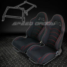 2X WOVEN RECLINABLE RACING SEATS TYPE-F1+BRACKETS 88-91 HONDA CRX DX/HF/Si BLACK