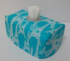 Eiffel Tower - Aqua Tissue Box Cover With Circle Opening - Lovely Gift