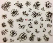 Nail Art 3D Decal Stickers Sketch Black & White Flowers & Butterflies E356