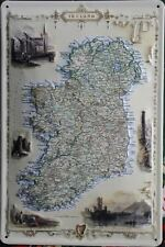 IRISH MAP Vintage Advert Embossed Metal Sign