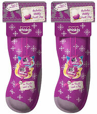 2 x whiskas chat chaton de noël xmas stocking tentations traite & traiter balle