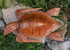 Tropical Nautical Turtle Hono Bali Wood Carving Statue Island Tiki Decor 16""