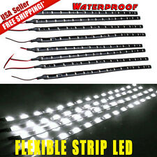 8x Flexible 30cm Strip 6000K White Car Motorcycle 15 LED Lights Waterproof 12V