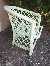 Cool Rattan Wicker Chair Patio Shabby Chic Beach Cottage Bamboo Trellis Lime