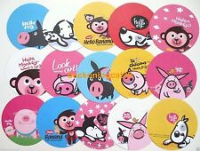 Cute Animal Round Memo Note 15 Dog Puppy Pig Monkey Chick English Message JAPAN