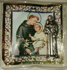 "SAINT ANTHONY CATHOLIC POCKET STATUE & 3"" X 3"" GOLD STAMPED HOLY CARD PRAYER"