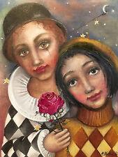 European Art Original Oil Painting On Canvas MONICA BLATTON people rose