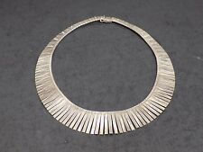 Vintage 925 Italy Sterling Silver Cleopatra Bib Style 16.5 In 44 gram Necklace