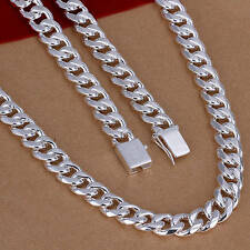 Wholesale solid silver 10MM chain men's necklace fashion jewelry gift HN96