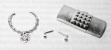 JEWELRY CLUTCH LOT (CN2) ~ BARBIE SILVER PLASTIC EARRINGS NECKLACE PURSE LOT