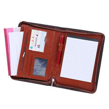 Brown A5 Conference Folder PU Leather Portfolio Organiser Wallet Case