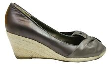 CLARKS Shoes Size 5 Dark Grey Wedges Party Beach Summer Peep Toe Evening