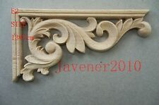 13*7cm Wood Carved Corner Onlay Applique Frame Door Unpainted E2 QTY.4