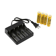 4x 18650 3.7V 9800mAh Protected Li-ion Battery + Universal US Stop Charger BE