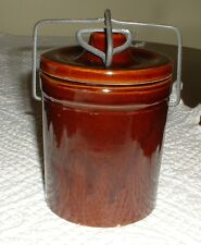 VINTAGE SMALL BROWN CHEESE CROCK WITH LOCKING WIRE LID