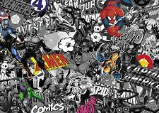 Marvel Comic Stickerbomb Fundido Vinilo / Wrap Hoja 1000mm X 300 Mm (blanco Y Negro Con Color)