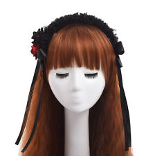 1pc Gothic Girls Red/Black Floral Lace Headband Vintage Ribbon Bowknot Headwear